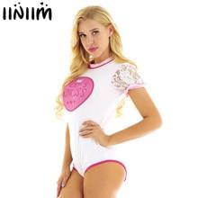 Iiniim Phụ Nữ Trưởng Thành Ngắn Gợi Cảm Đáy Quần Clubwear Trang Phục Một Mảnh Liền quần Bodysuit Cosplay với Xù Lông Váy