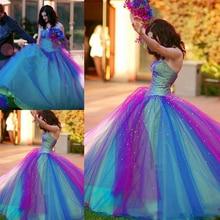 2017 blau und Lila Regenbogen Tüll Quinceanera Kleid Sweetheart Korsett Perlen Rüschen Ballkleid Vintage Kleid Formale