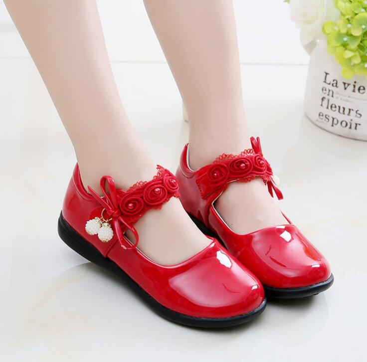 Childrens shoes flats girls leather shoes black princess dance shoes spring autumn model new kids white pupil performance shoes