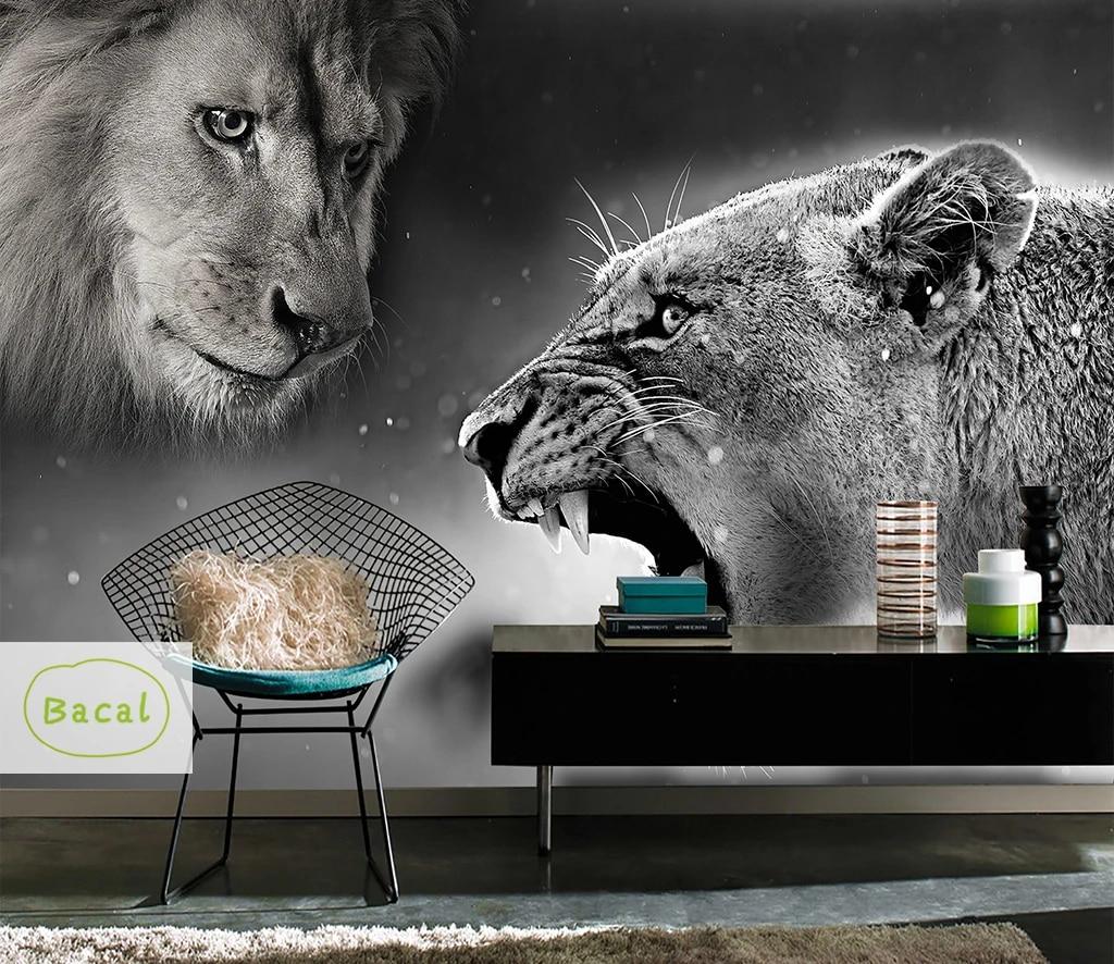 Bacal Custom Wallpaper Hd 3d Domineering Lion Tiger Animal Photo Tv Backdrop Wall Large Mural Living Room Backdrop 5d Wall Paper Wallpapers Aliexpress