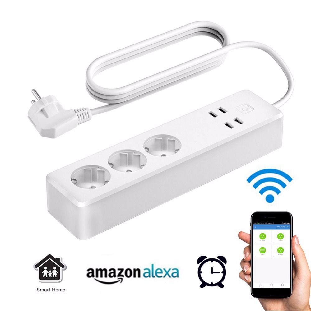 4 USB Charger Port + 3 EU Plug Outlet WiFi Voice Remote Control Smart Home Extension Power Socket Support for Amazon Alexa