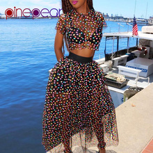 PinePear Candy Color 2019 Spring 2 Piece Set Cute Colourful Dot Transparent Mesh Sheer Maxi Dress Women Sweet Party Club Outfits