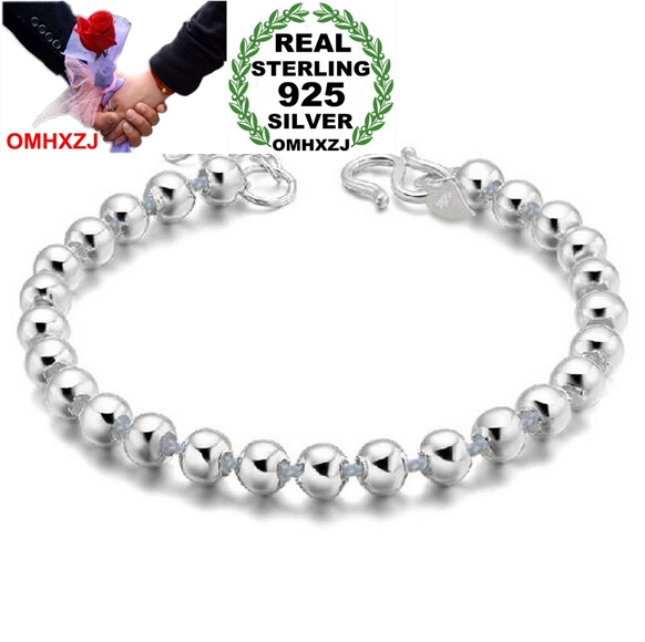 OMHXZJ Wholesale Fashion present High Quality Glossy bead 925 Sterling Silver Exquisite Gift Women man Bracelets Bangles SZ47OMHXZJ Wholesale Fashion present High Quality Glossy bead 925 Sterling Silver Exquisite Gift Women man Bracelets Bangles SZ47