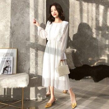 BGTEEVER Ruffles Polka Dot Women Chiffon Dress Elastic Waist Flare Sleeve Female Long Vestidos A-line White Dress 2019 5