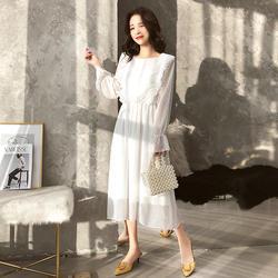 BGTEEVER женское шифоновое платье в горошек с эластичным поясом и расклешенными рукавами, женское длинное платье в стиле ретро, женское платье