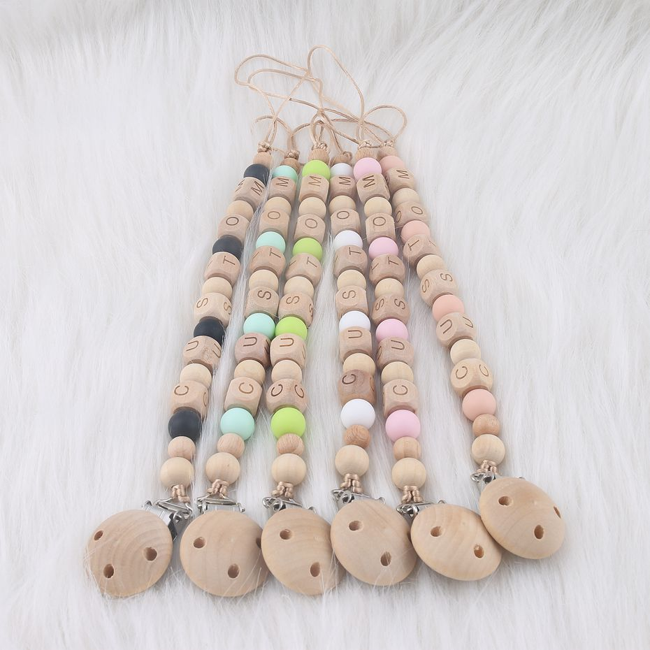 1PC Pacifier Chain DIY Crafts Personalised Gifts Custom Baby Name Dummy Chain Wooden Beads Wood Teether Chew Toys Pacifier Clip