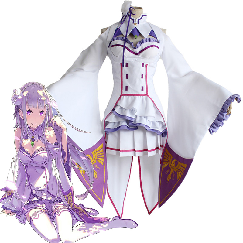 Re Zero Life In A Different World From Zero Emilia Cosplay Costume Halloween Carnival Re:Zero Kara Hajimeru Isekai Seikatsu