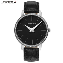 2016 Nueva Original SINOBI Relojes de Señoras de Lujo De la Marca Simple de Cuero Resistente Al Agua Vestido de Las Mujeres Relojes con Diamantes de Imitación