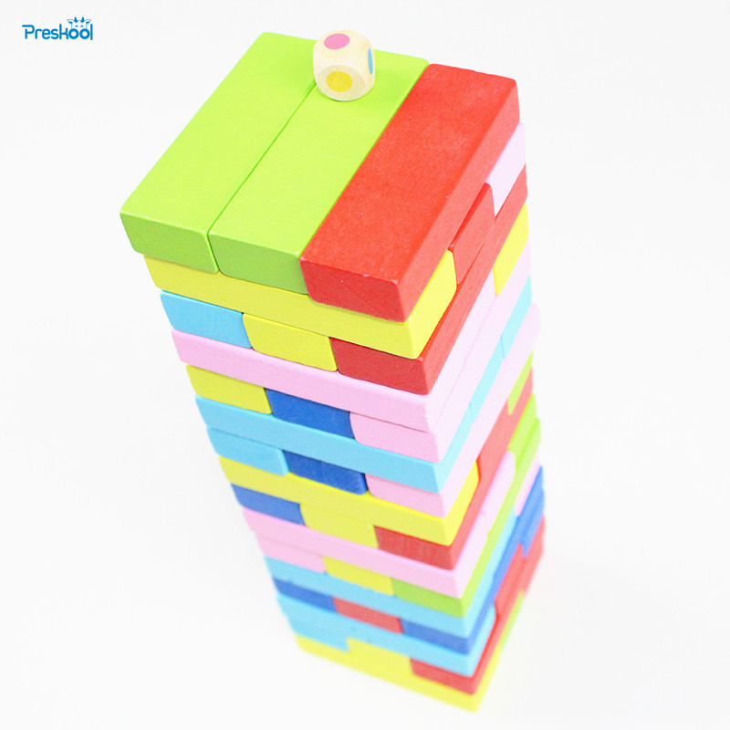 Montessori Baby Kids Toys Jenga Blocks 48 Pieces Learning Educational Preschool Training Brinquedos Juguets