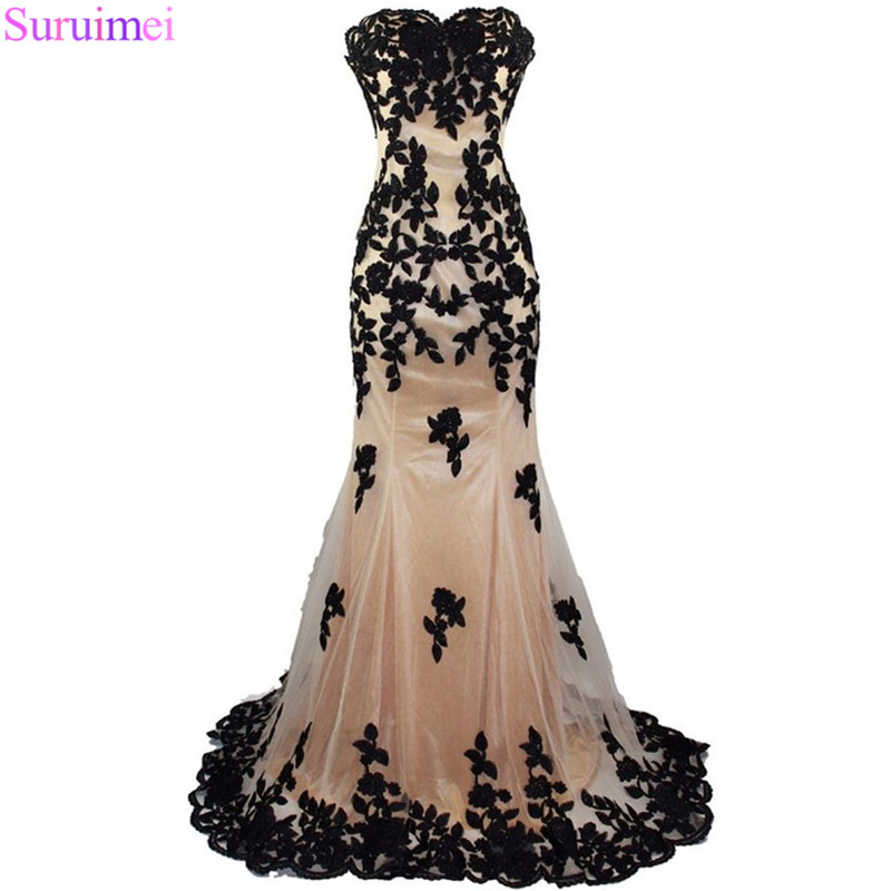 Real Images Sweetheart Mermaid   Prom   Gown Evening Party 2018 Appliqued Long   Prom     Dress   Avondjurken