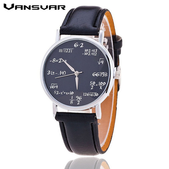 Vansvar Fashion Casual Ladies Leather Quartz Watch Mathematical Symbols Women Wr