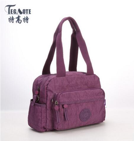 TEGAOTE 2017 Original Women Nylon Waterproof  Shoulder Bag Multifunction Zipper Handbag Tote Pink Messenger Bag Bolsas 953