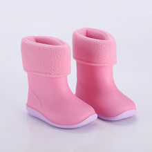 New Kids Rain Boots For Girls Rubber Rainboot Boys Baby Girl PVC Warm Children Waterproof Shoes Removable botas de agua ni a #Y4(China)