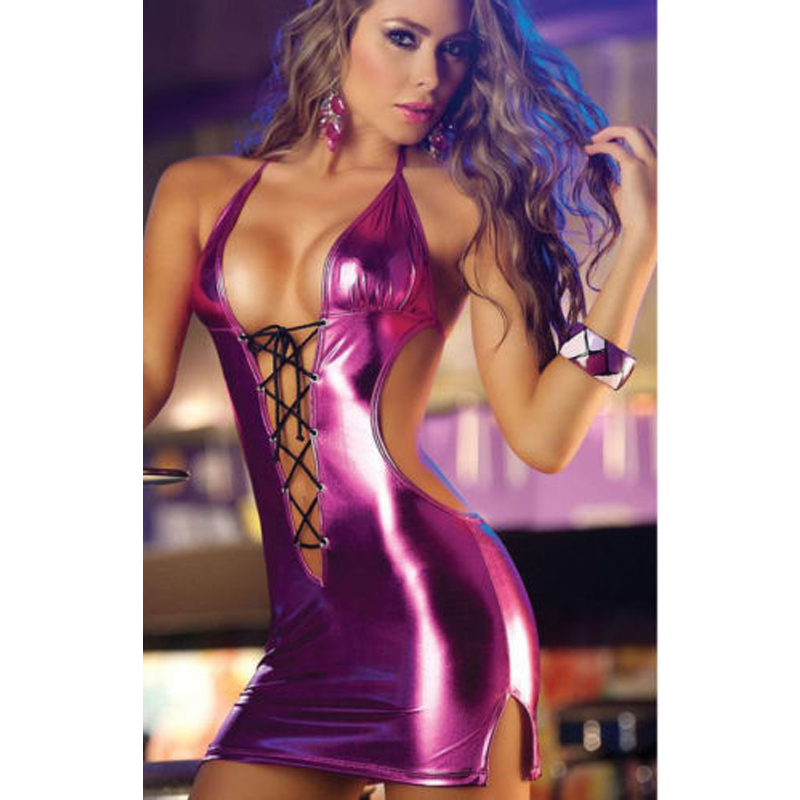 Sexy Babydoll Night Club Lace up Women Dress PU Leather V Neck Bandage Backless Strappy Halter Sexy Babydoll Night Club Lace up Women Dress PU Leather V-Neck Bandage Backless Strappy Halter Dresses Women Clothes