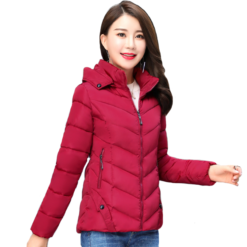 2019 Winter Jacket Women Autumn Hooded Short Padded Outwear Female Coat Slim   Parka   Abrigos Mujer Invierno