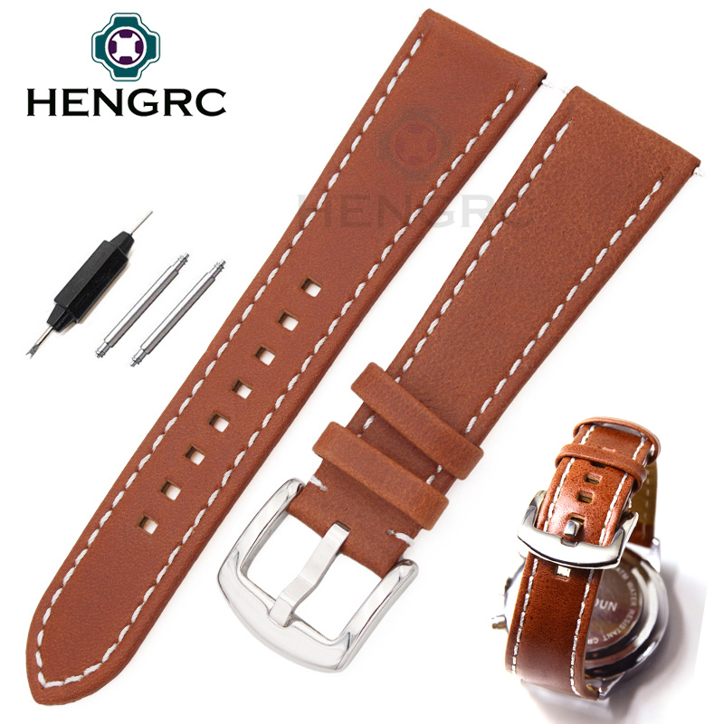 Wholesale 10pcs/set 22 24mm Soft Durable Genuine Leather Watchbands Brown Fashion Men Women Watch Band Strap With Metal Buckle wholesale fine fashion men women sunglasses 3592554 with leather buckle size 56 18 130 mm
