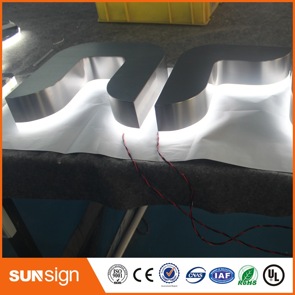 Aliexpress Factory Outlet Outdoor Waterproof Back Lit Chrome Brushed Stainless Steel Letter Sign