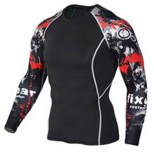 New 3D Compression Shirt Men Skull Tops Running BodyBuilding T-Shirt MMA Long Sleeve Rashguard Gym Fitness Sportswear