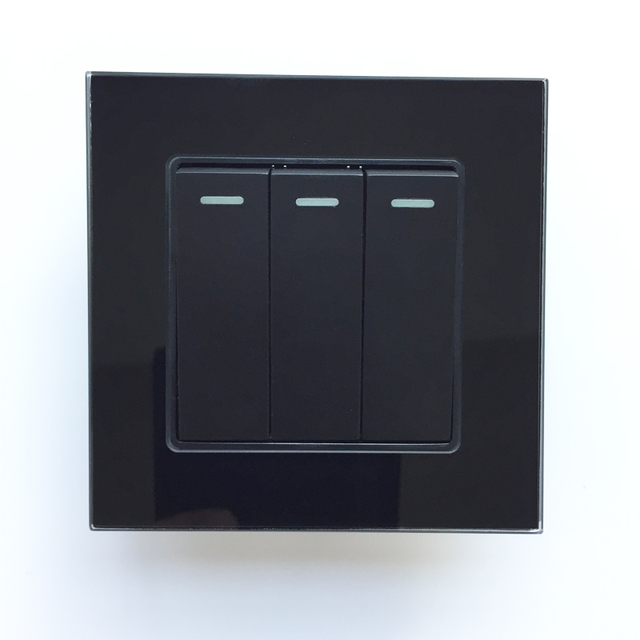 Electric Switcher Black Color Power Control Wall Panel 86x86mm 3 ...