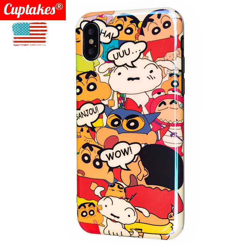 Luxury Bling Glossy IMD Soft Silicone Case for iPhone 7 8 Plus XR X 10 XS Max 6 6S Cover Cute Japanese Boy Cartoon cool kawaii