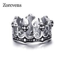Zorcvens anéis masculinos preto rei real coroa cavaleiro fleur de lis cruz anéis vintage para homem jóias