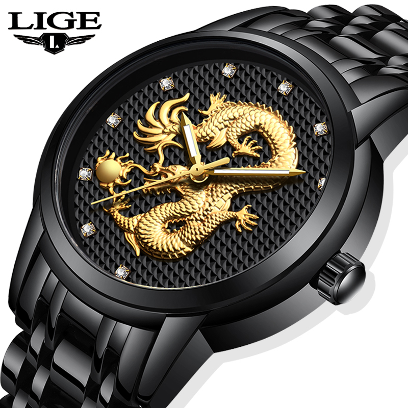 Relogio Masculino LIGE Mens Watches Top Brand Luxury Gold Dragon Business Quartz Watch Men Full Steel Waterproof Wrist Watch+Box