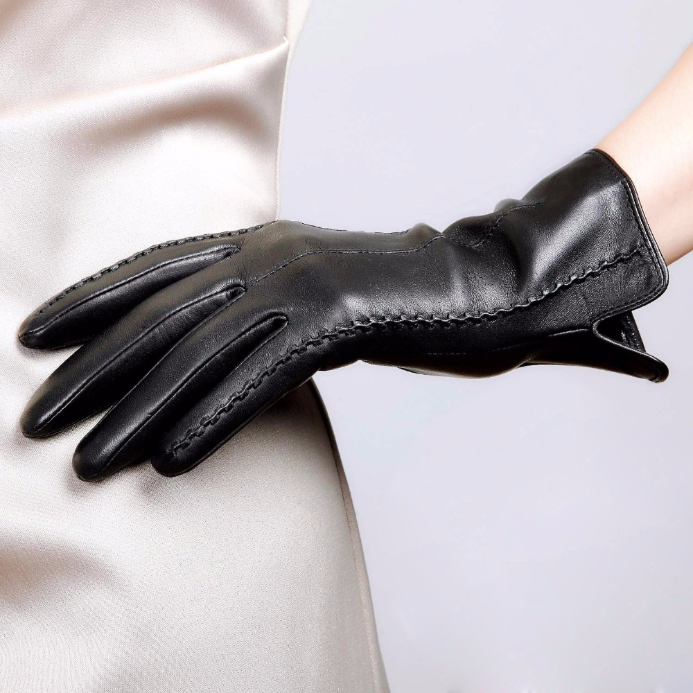 Ladies leather gloves with silk lining - High Quality Elegant Women Genuine Leather Gloves Thin Silk Lining Goatskin Driving Gloves Hot Trend Female