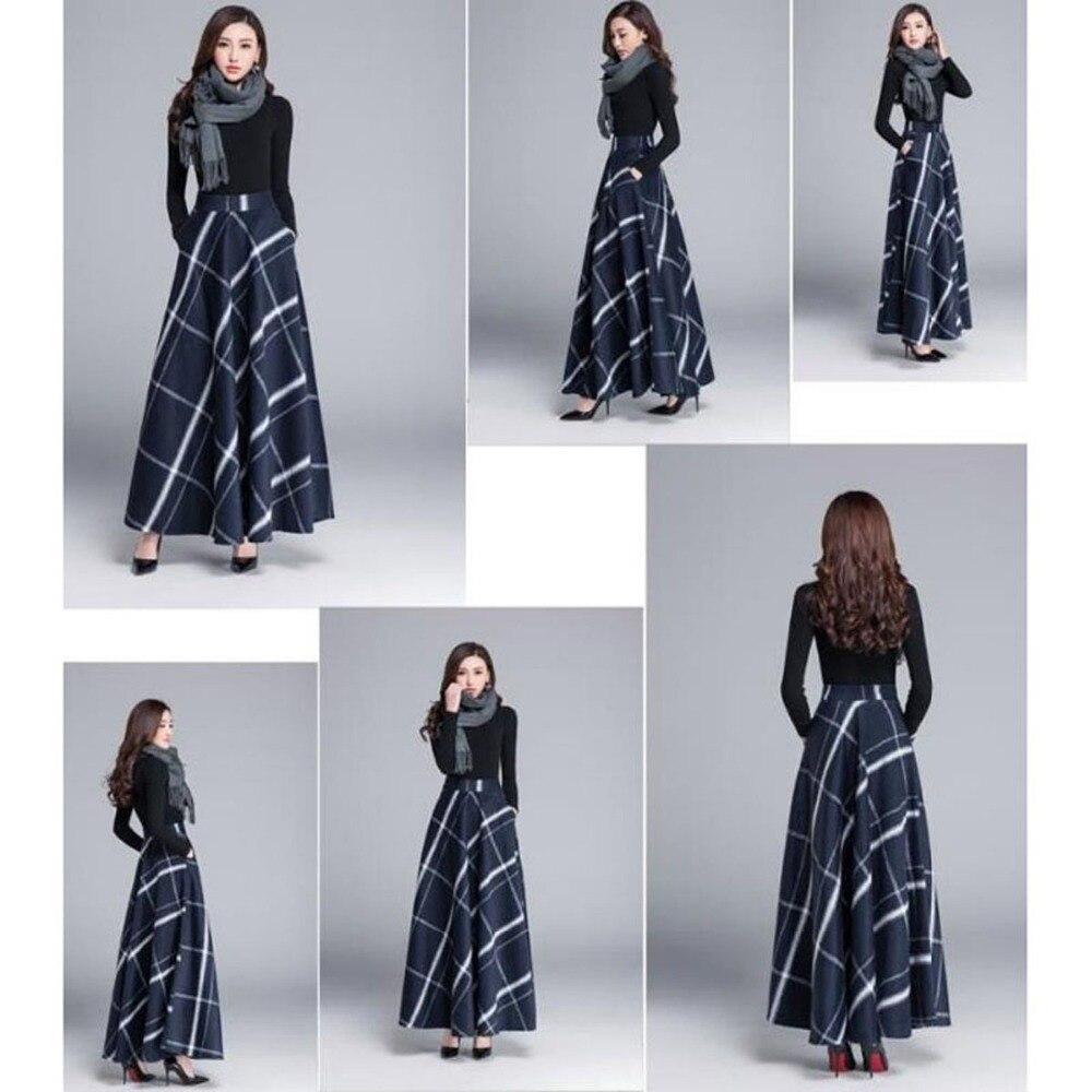 Taille Laine Vintage 2018 5xl Hiver Plus Plaid Vêtements Mode Femelle Épaississent Treillis La 6xl Xxxxxl Jupes Avec Femmes Maxi Longues 0OPynmwNv8