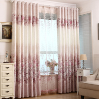Cotton and linen jacquard curtain shading living room bedroom custom made Pink Wedding curtain fabric