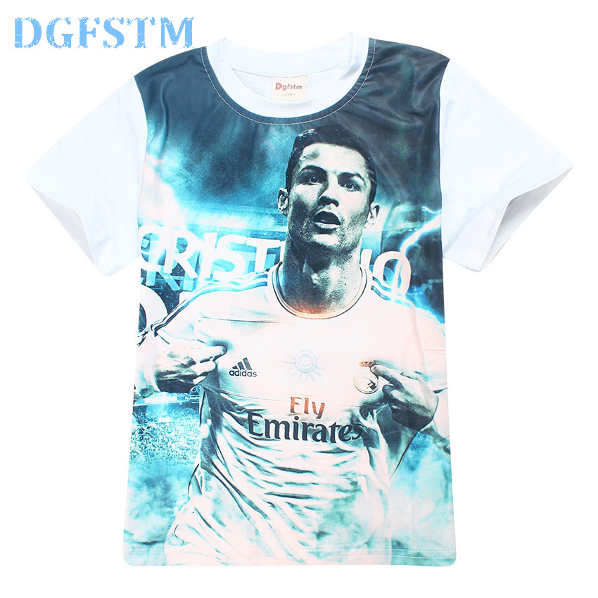 Real DGFSTM brand Boys t shirt Children clothing short sleeve tees teenage clothing summer kid tops Football star T-shirt madrid