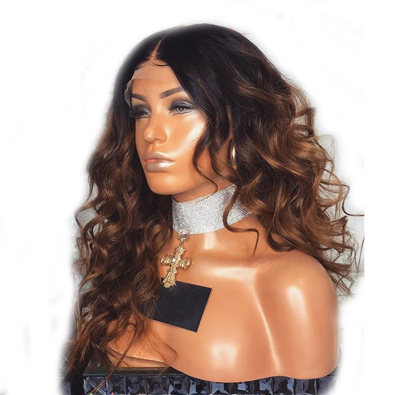 DLME ombre коричневый свободная волна парик жаропрочных волокна синтетические кружева спереди парики для женщин 1b/коричневый цвет волос