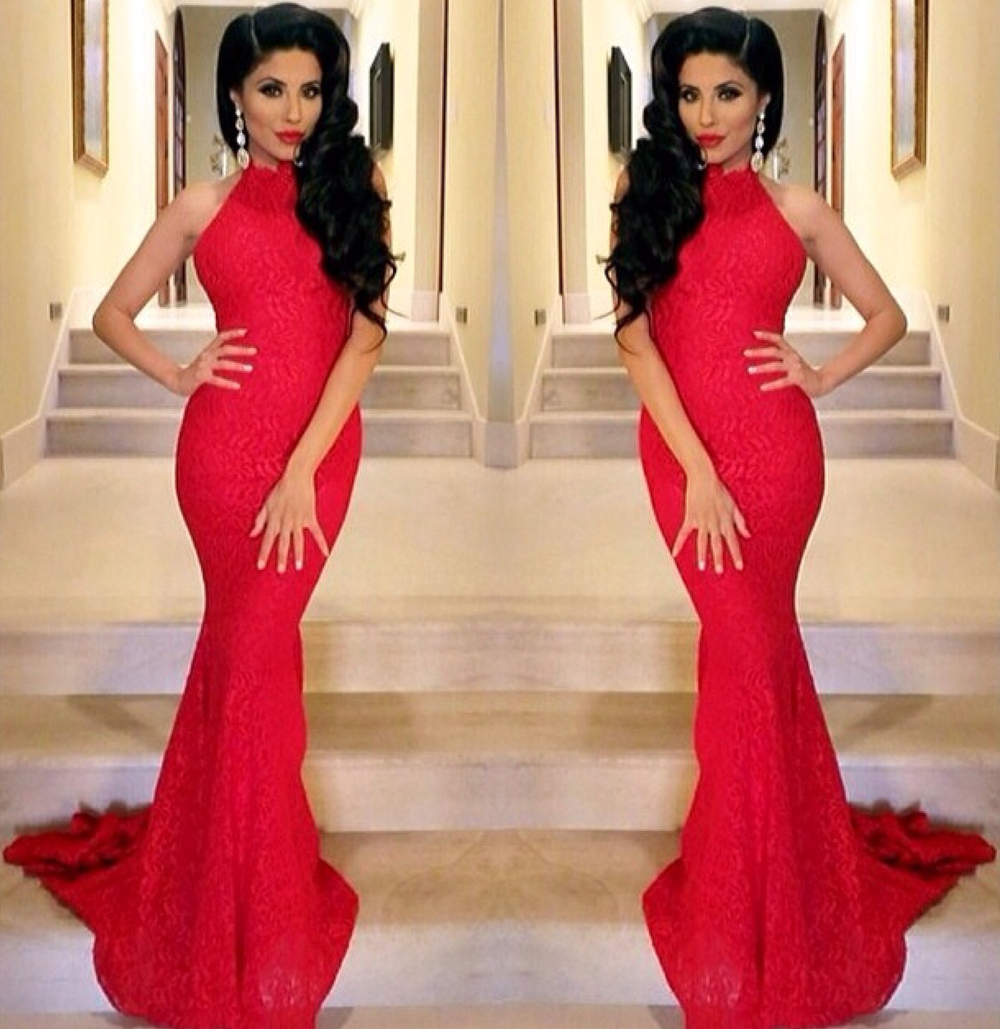 Aliexpress.com : Buy Red Lace Prom Dress High Neck Long Mermaid ...