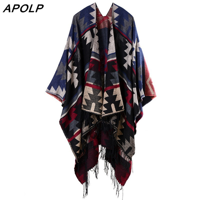APOLP Ethnic Vintage Geometric Print Batwing Sleeve Long Poncho Womens Capes And Ponchoes Autumn Winter Pullover With Tassel