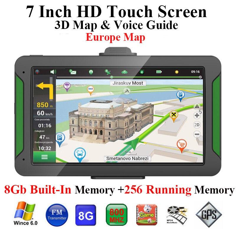 Voiture Gps Navigator 7 pouces Hd écran de presse 8 Gb mémoire intégrée + 256 mo mémoire courante conduite Navigation carte de l'europe