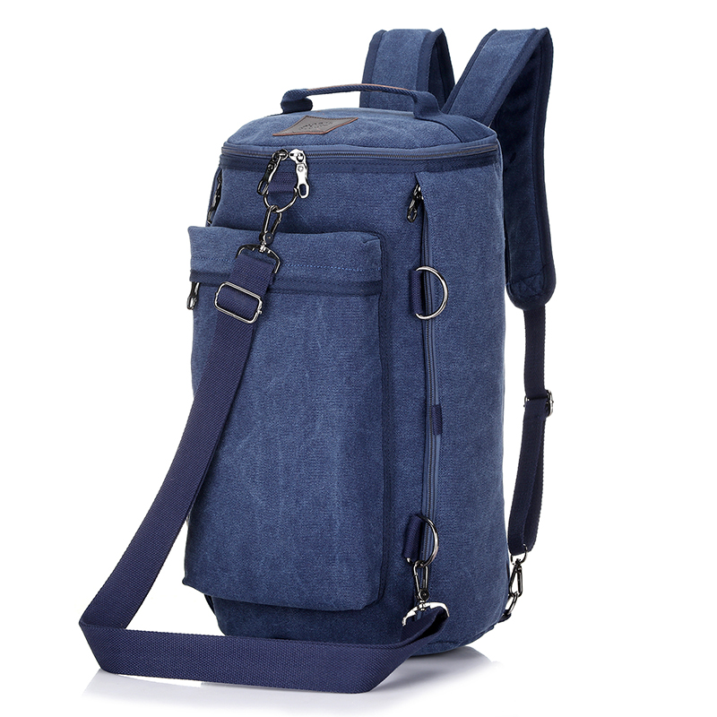 Stylish Men's Outdoor Bucket Bag  Multi-functional Male Travel Bag  Environmental Canvas Backpack Casual Shoulder Bag
