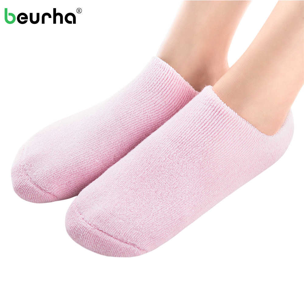 Beurha 1 Pair Silicone Gel Moisturizing Socks Whitening Exfoliating Foot Women Feet Care Stretchable Repair Beauty Spa Sock