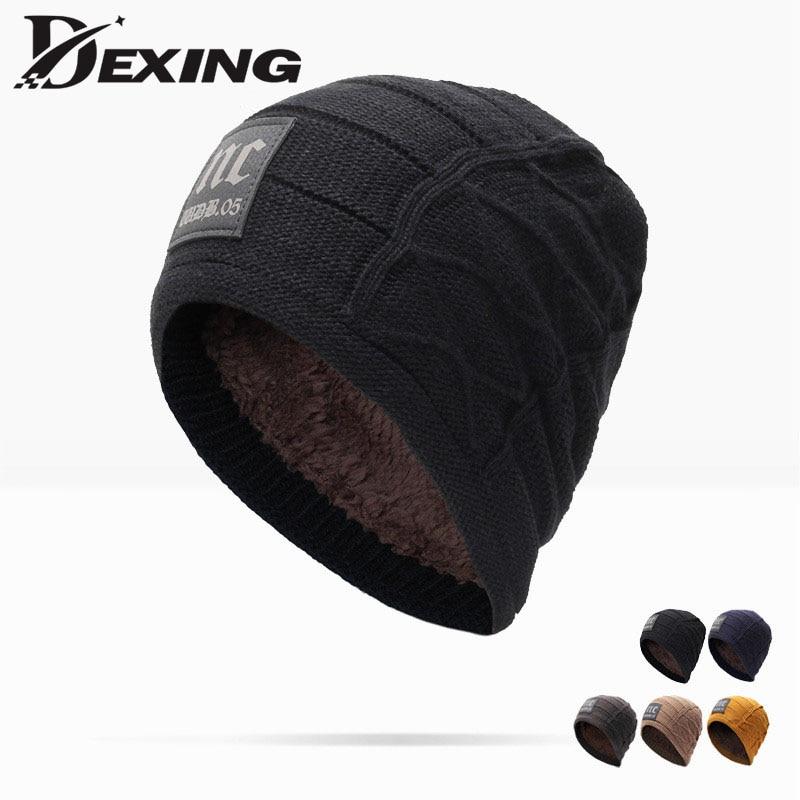 Brand Men Winter Hat wool Skullies beanies for men Warm Baggy Knitted Velvet  thick nc knit Bonnet Ski Sports cold Cap skullies