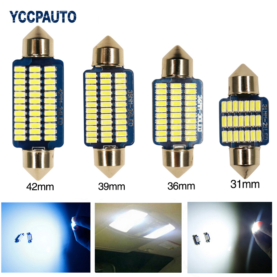 Car LED Festoon Lights Canbus 31/36/39/42mm C5W C10W Bulbs Error Free Interior Dome Reading Lamp 4PCS Blue Color 3014 SMD high quality 31mm 36mm 39mm 42mm c5w c10w super bright 3030smd car led festoon light canbus error free interior doom lamp bulb