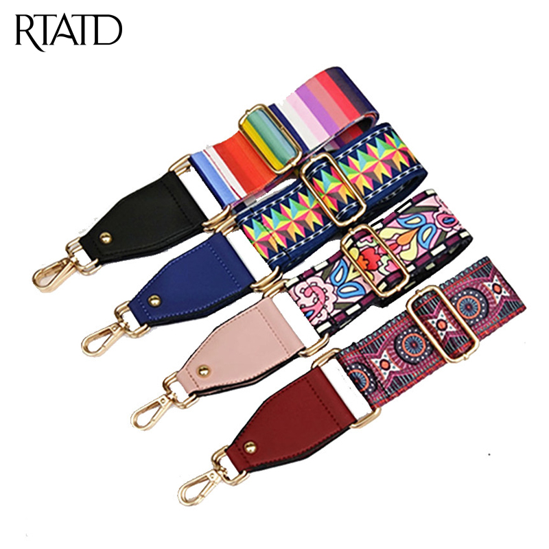 RTATD New Canvas Women Bags Strap National Wind Flower Design Lady Shoulder Strap Adjust Gold Buckle Bags Belts B286
