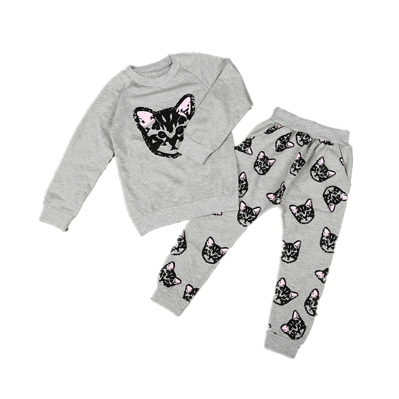 2018 New Girl Long Sleeve Cat Print Set Childrens sweater+Harlan pants two-piece suit Childrens clothing for2-6Y