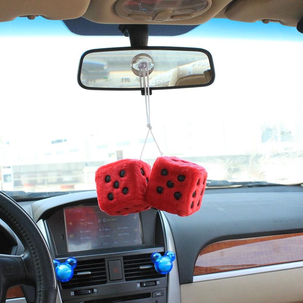 Car Pendant Plush Dice Craps JDM Automobiles Rear View