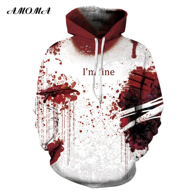 5ba6a1fdf787 AMOMA Halloween Hoodies Unisex Realistic 3D Digital Print Novelty Cool  Funny Hooded Sweatshirt I m Fine Blood Injury
