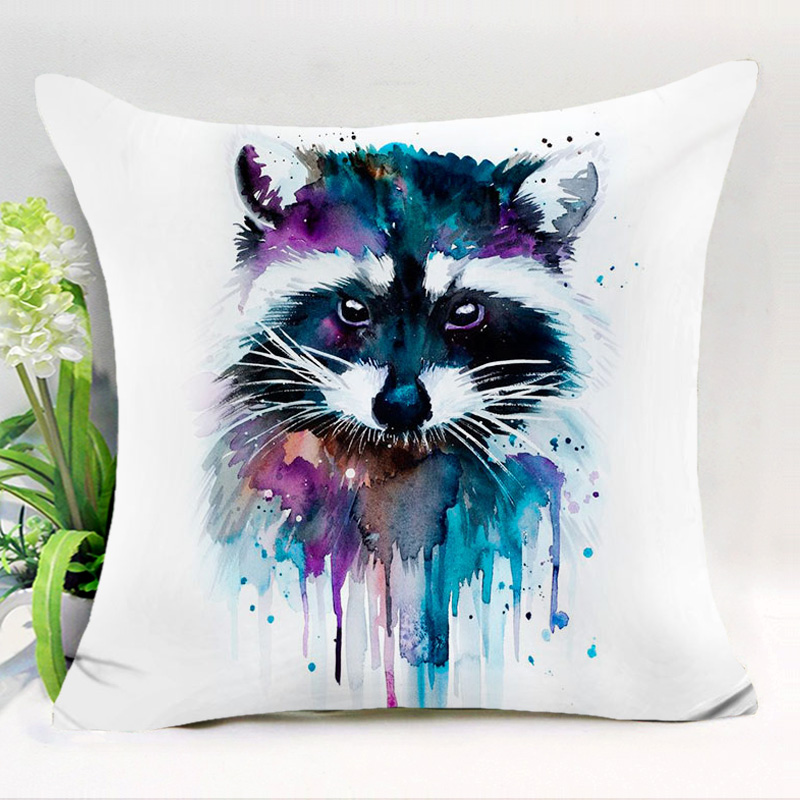 Comwarm Colorful Painting Animals Polyester Cushion Cover Indian Fox Civet Bird Dogs Sofa Pillow Cover Car Home Decor Pillowcase