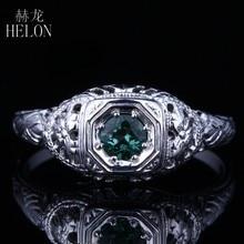35db0a43a223 HELON sólido 14 K 585 oro blanco verde Verdant turmalina anillo de  compromiso antiguo Vintage anillo de bodas diseño de lujo fin.