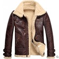 Alta Calidad Nueva Marca de Moda Para Hombre de Piel de Cordero de Cuero de La Vendimia Fleece Bomber Vuelo Abrigos Hombre Invierno Cálido Forro de Piel de la Cremallera abrigos