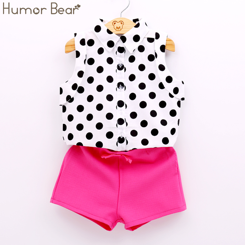Humor Bear Summer Style Girls Clothes Dot Blouse +Pink Pants 2pcs Suit Bow Baby Girls Clothing Set Kids Clothes