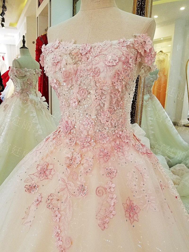 Lace Pink Embroidery Flower White Wedding Dresses Luxury Beaded ...