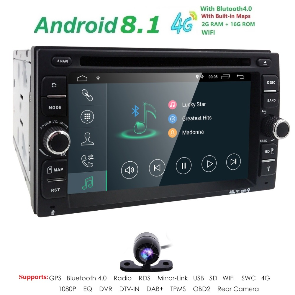 2G RAM Android 8.1 Auto Radio Ouad Core 6.2Inch 2 DIN Universal Car DVD player GPS Stereo Audio Head unit Support DAB DVR Camera