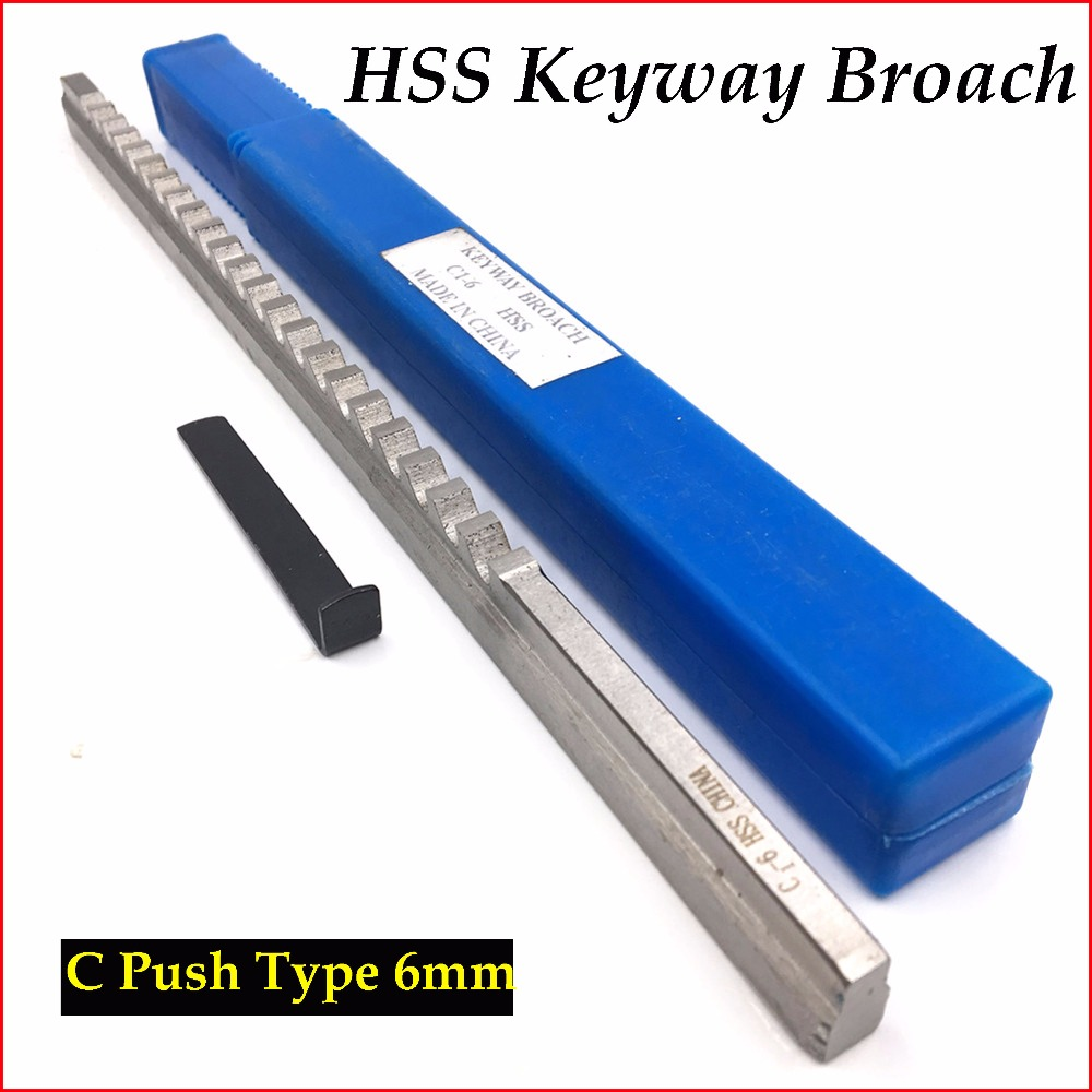 HSS 6mm C1 Push-Type Keyway Broach Metric Size HSS Keyway + Shim Cutting Tool for CNC Router Metalworking keyway broach 8mm c push type metric size broach high speed steel keyway cutting tool for cnc router