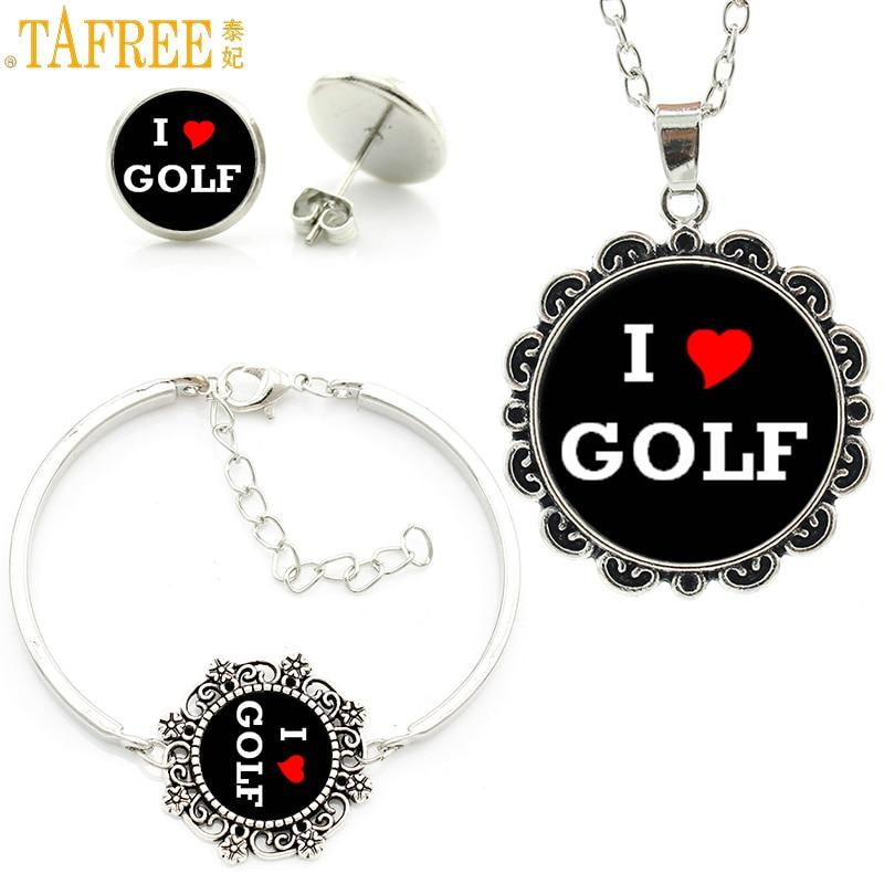 TAFREE 2017 new fashion I Love Golf statement necklace earrings bracelet set casual sports women flower charms jewlery sets SP01